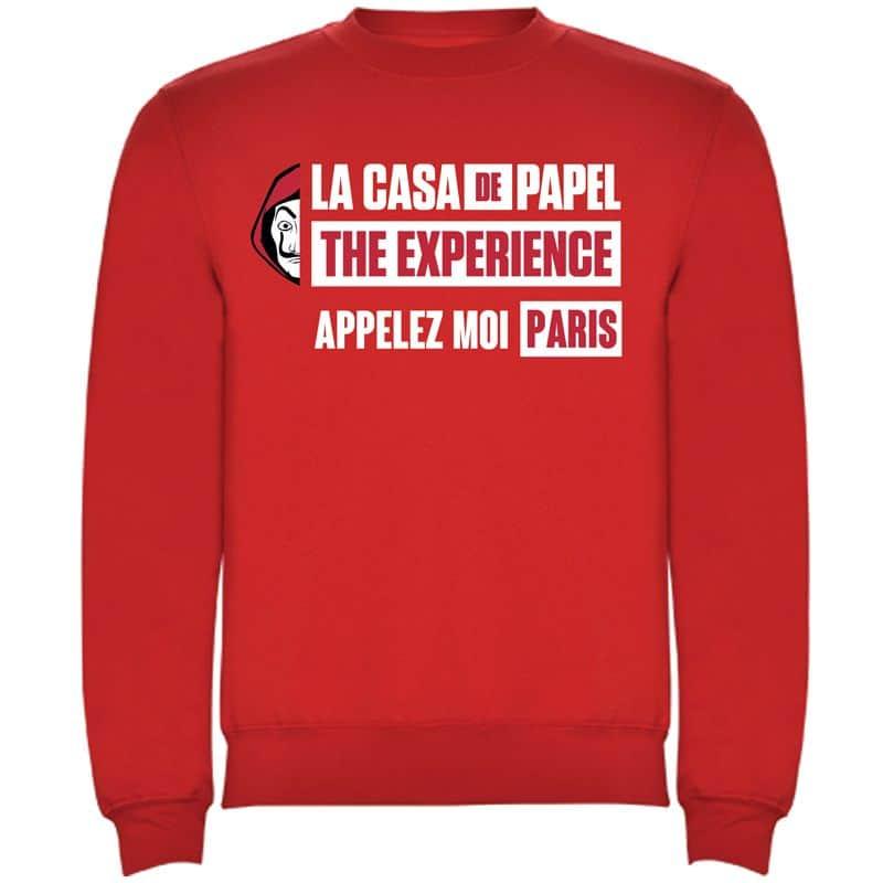 Sweat droit ROUGE Appelez Moi Paris